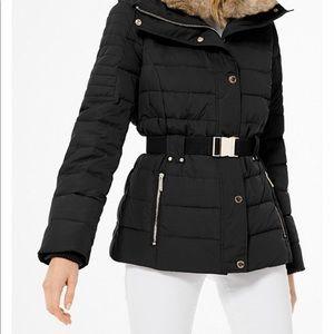 Michael kors down winter jacket rabbit fur hood